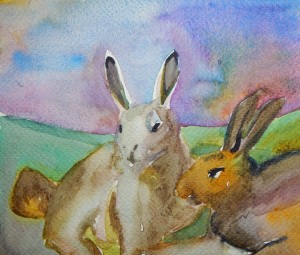 small watercolor sketch by Gwen Meharg