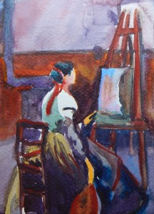 """Watercolor Sketch 5x4"""" on paper by Gwen Meharg"""