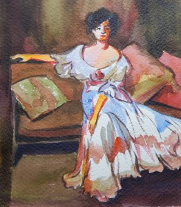 """Kept 6x6"""" watercolor sketch on paper by Gwen Meharg"""