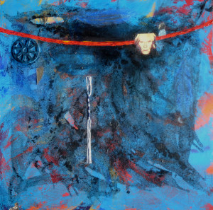 Red Rope 24x 24 inches acrylic and collage on canvas by Gwen Meharg