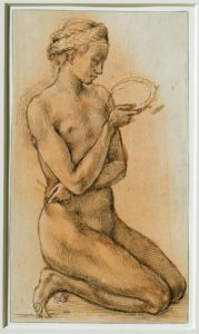 Michelangelo Buonarroti TitleNude Woman, Kneeling Work Type drawing Date around 1500 Material pen and brown ink, heightened with white wash, on white paper Measurements 26.7 x 15.3 cm Repository MusŽe du Louvre, INV 726, recto.