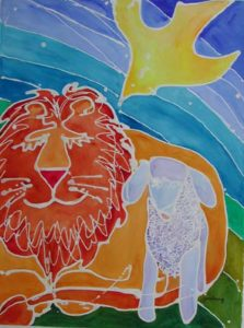 Lion, Lamb & Dove batik & watercolor on paper